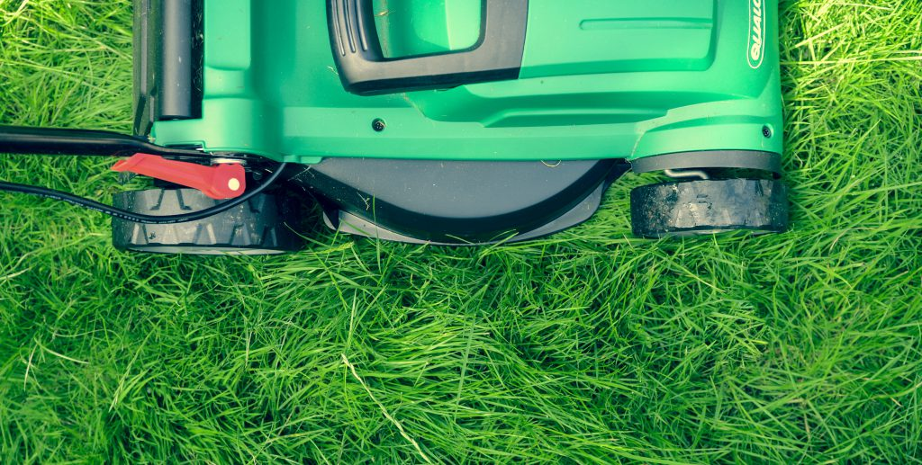 Photo of a green lawn mower mowing tall grass
