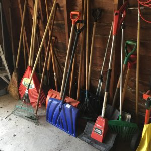 A photo of multiple shovels and tools in a shed